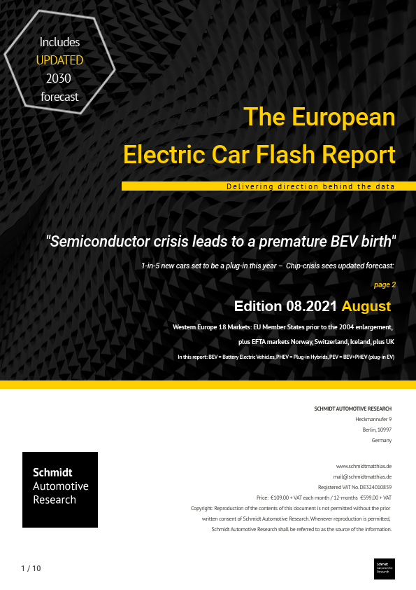 August 2021 European Electric Car Report Page One