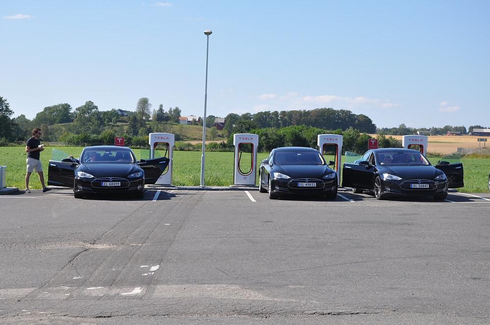 Tesla models recharging superchargers Norway