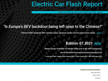 European Electric Car Report July 2021 highlights
