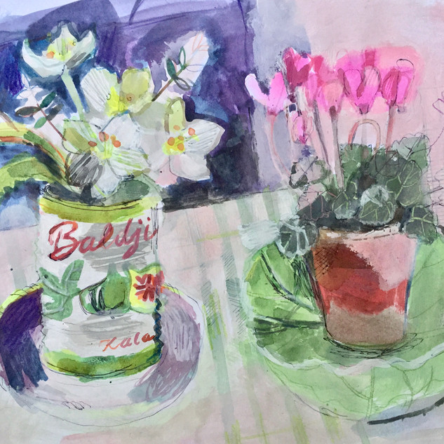 Spring Flowers & Fig Tin