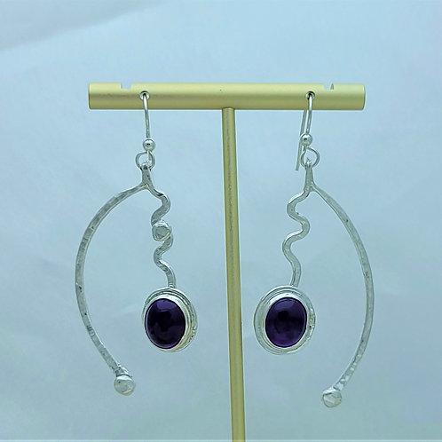 Fine Silver Double Stem Amethyst Earrings