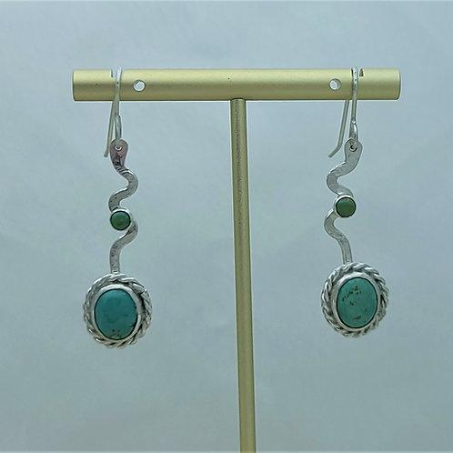 Fine Silver Stem Turquoise Earring