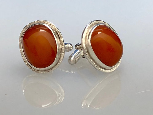 Resin Amber Cuff Link (Oval)