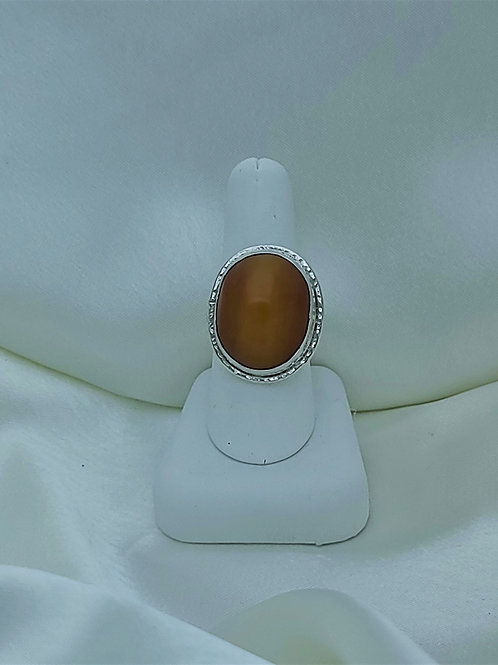 Fine Silver Resin Amber Ring
