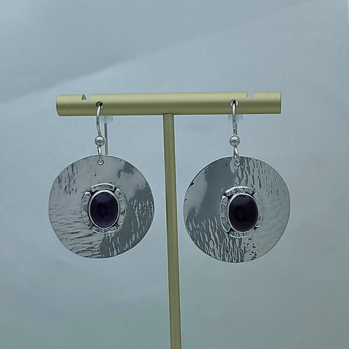 Fine Silver Disc Earrings with Amethyst Setting