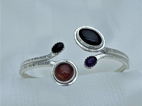Fine Silver Double Tip Amethyst and Baltic Amber