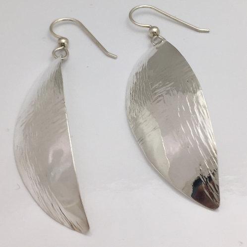 Fine Silver Earrings Leaf Shape