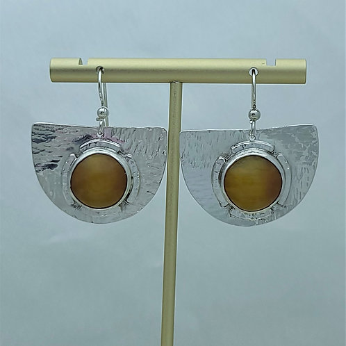 Fine Silver Half Disc Amber Earring