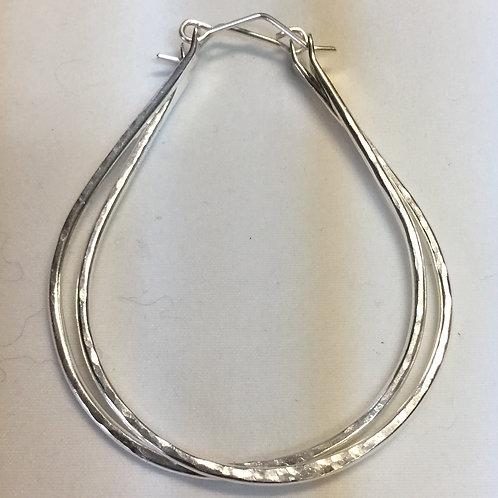 Fine Silver Bangle Horseshoe Earrings