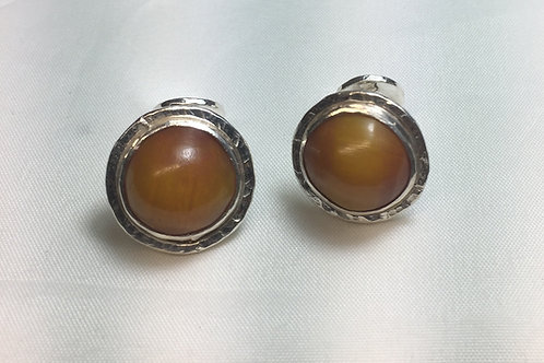 African Amber Cuff Links Round Hook Back