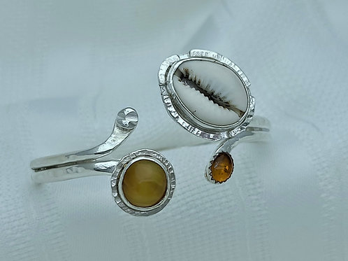 Fine Silver Double Tip African Amber, Baltic Amber & Cowrie Shell