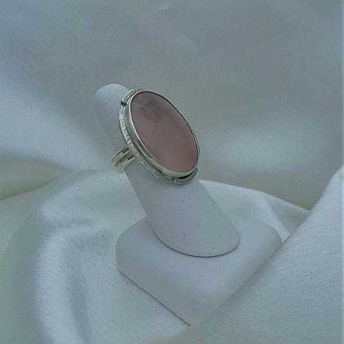 Fine Silver Rose Quartz Ring