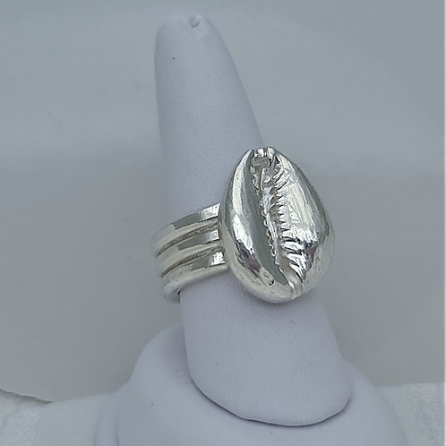 Fine Silver Cast Cowrie Shell/ TPL Band Ring