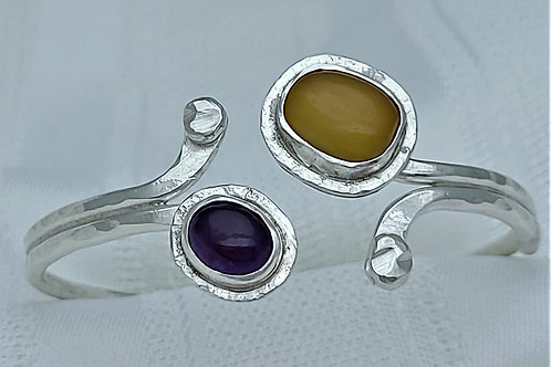 Fine Silver Double Tip African Amber and Amethyst