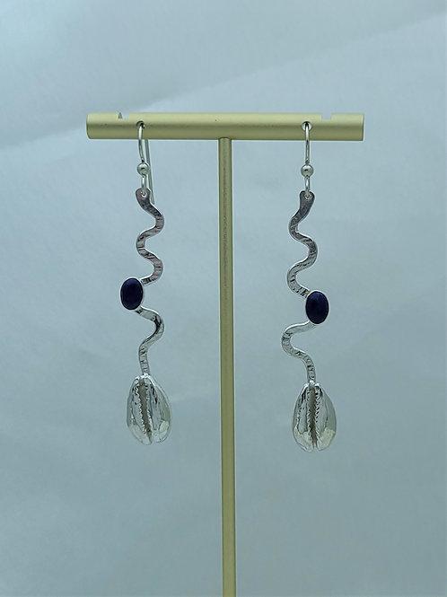 Fine Silver Cast Cowrie Shell Stem Lapis Earring