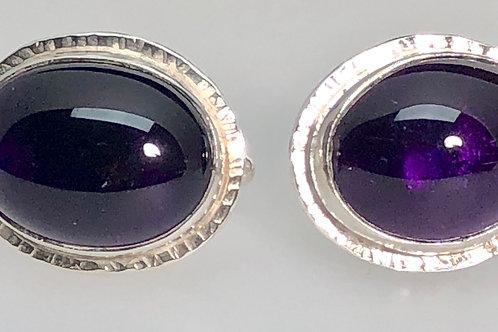 Amethyst Cufflinks (Oval) Large
