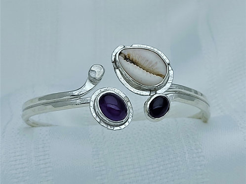 Fine Silver Double Tip Amethyst Cowrie Shell