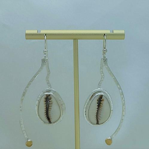 Fine Silver Stem Cowrie Shell & Bronze Earrring
