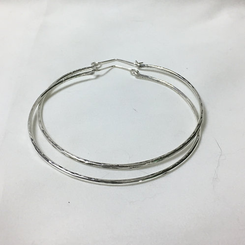Silver Bangle Hoop Earrings