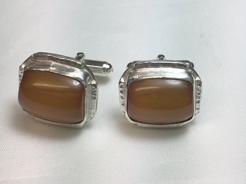 African Amber Cuff Links Square