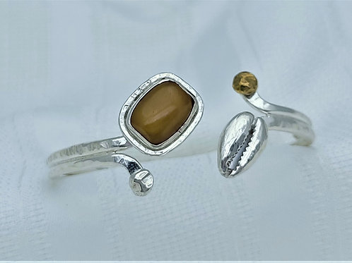 Fine Silver African Amber, Silver Cowrie Shell & Bronze Accent