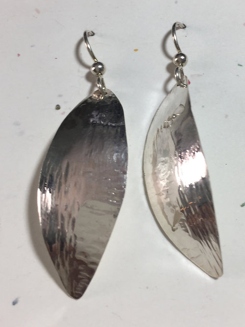 Fine Silver Earring Leaf Shape