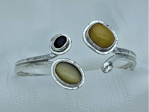 Fine Silver Double Tip African Amber, Honey Tiger Eye and Onyx