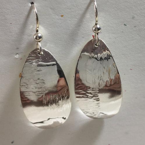 Fine Silver Earrings Oval Shape
