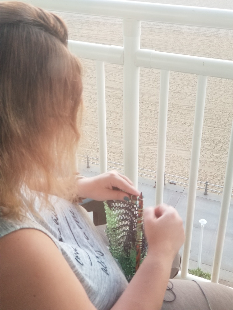 Knitting while on vacation at the beach