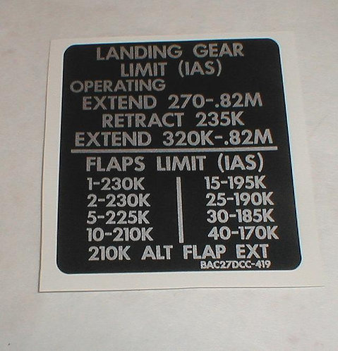 737 Flap Speed Decal