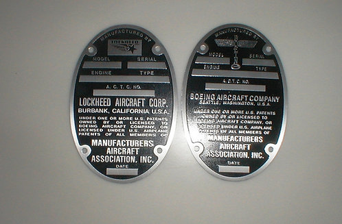 Data Plates (Lockheed, Vega, Boeing, Douglas)