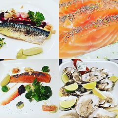Fish starter, mackerel, salmon, oysters