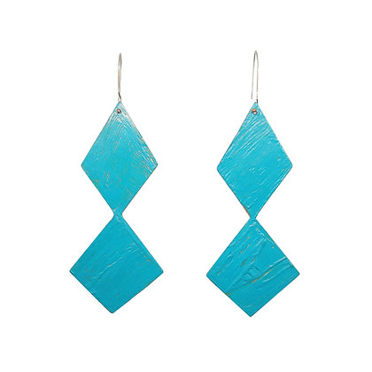 turquoise/ gold geometric earrings