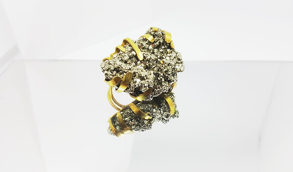 golden pyrite cocktail ring