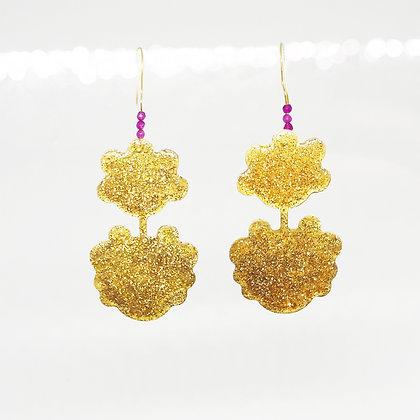 golden glitter earrings