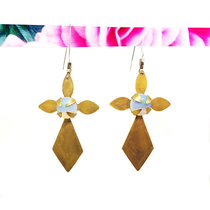 brass mood flower earrings