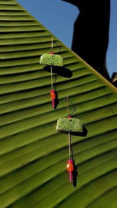 Green glitter&spice earrings