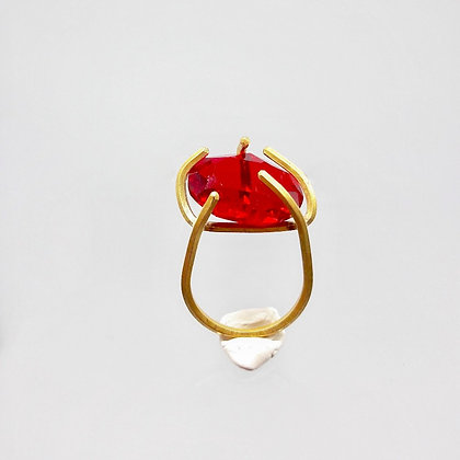 claw ring with red crystal