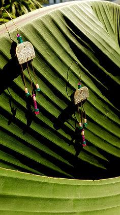 Silver glitter&spice earrings