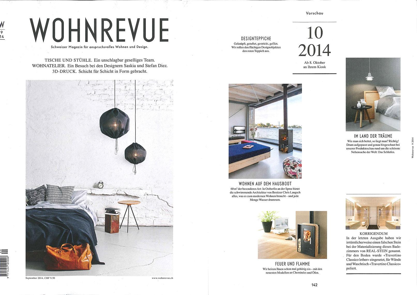 2014 09. Wohnrevue Germany. Sprinkle Bed Linen In Grey