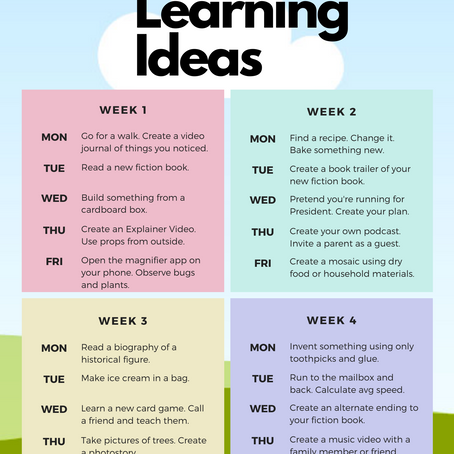 At Home Learning Ideas
