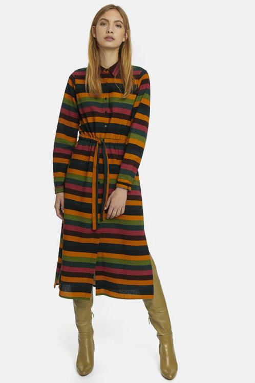 MultiColour Striped Midi Shirt Dress