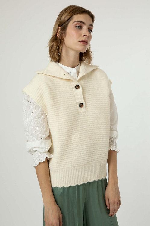 Sleeveless High Neck Sweater