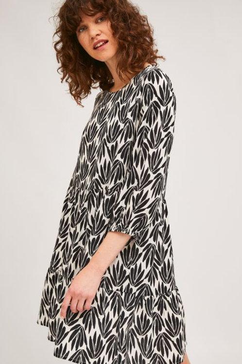 Black Print Babydoll Dress
