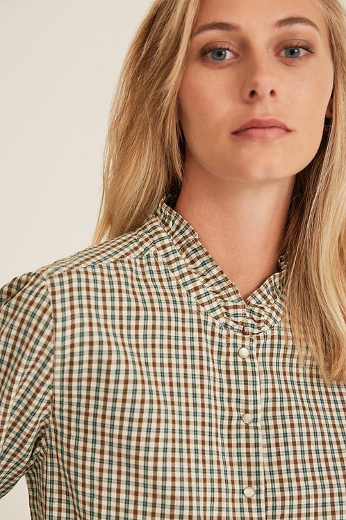 Check Shirt with Ruffle Neck