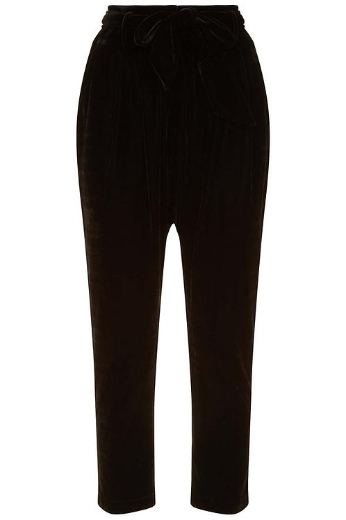 Peg leg velvet trousers