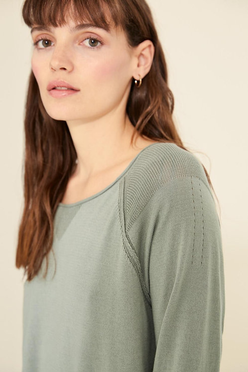 Sweater with Pointelle Shoulder Detail