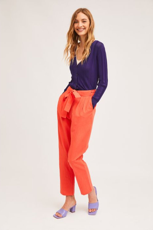 Coral pleated ankle grazer trousers