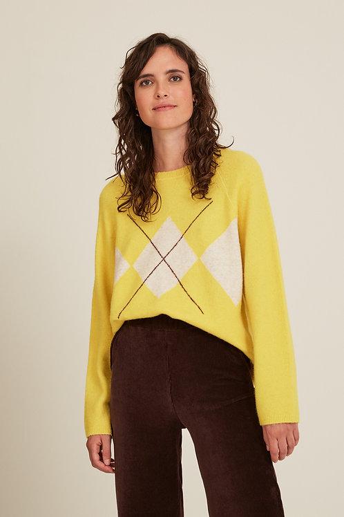 Round Neck Argyle Sweater