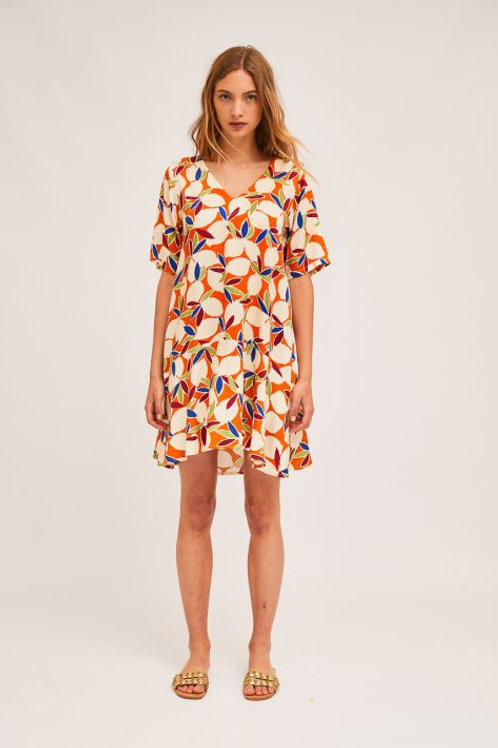 Fruit Print Flared Dress